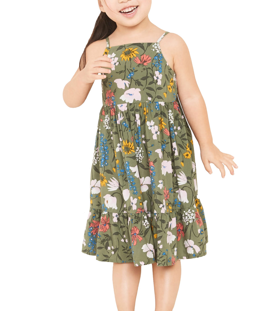 old navy toddler printed tiered-hem cami sundress - olive through this