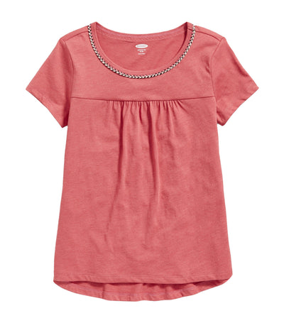 old navy kids softest braided-trim swing tee - gooseberry red