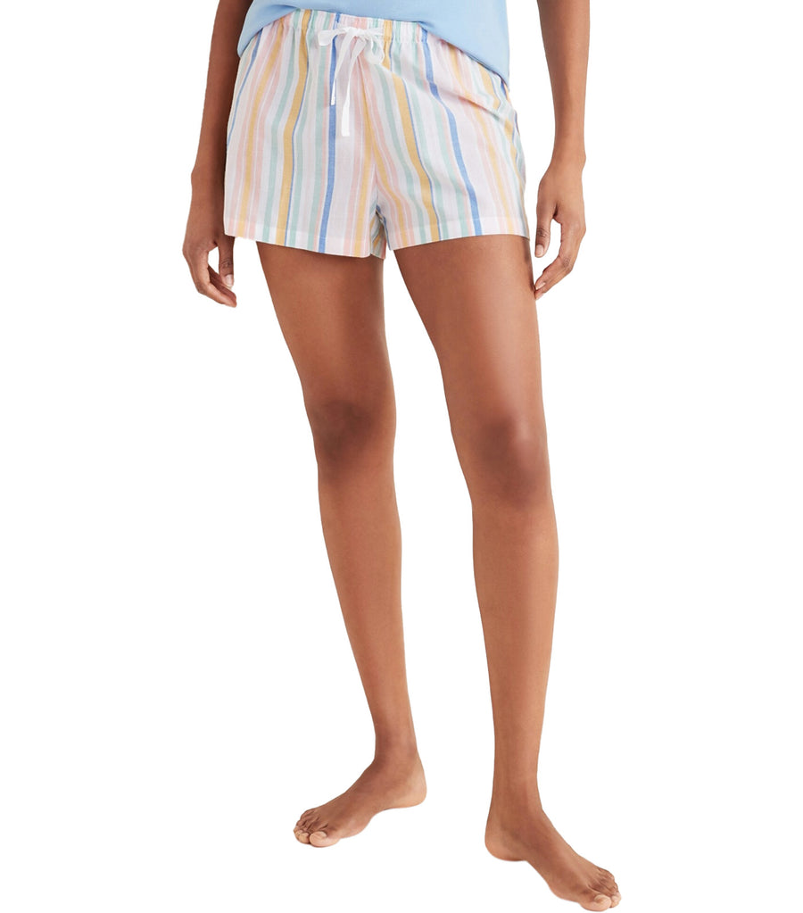 Printed Poplin Pajama Shorts Multi Stripe