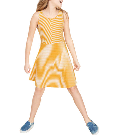 old navy kids fit and flare tank dress - yellow stripe
