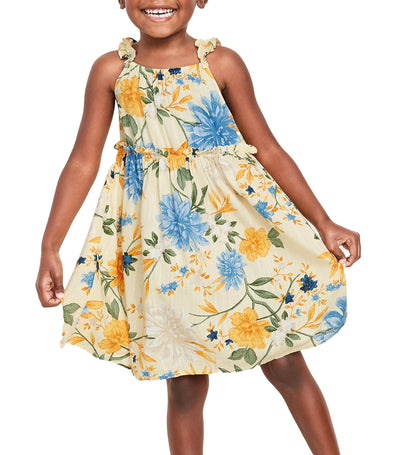 old navy toddler floral-print ruffle-strap sundress - banana smoothie