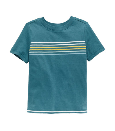 old navy toddler teal chest-stripe crew-neck tee