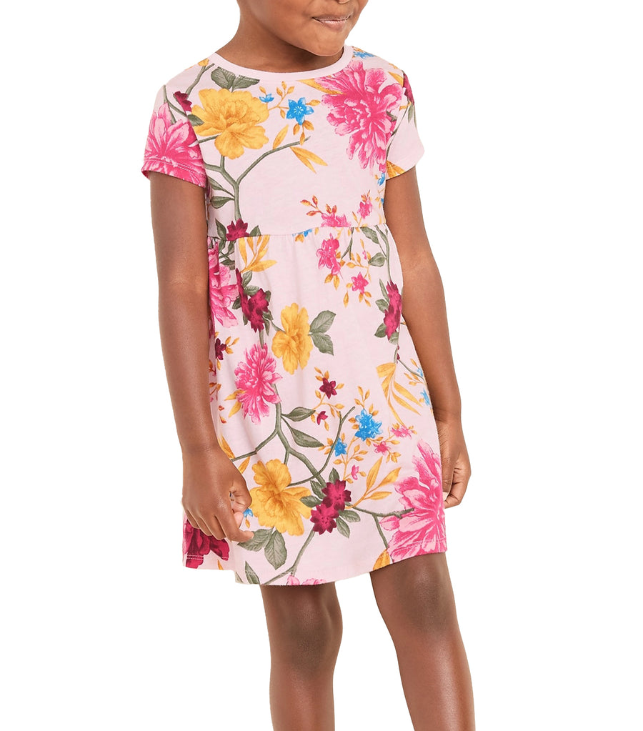 old navy toddler printed fit and flare dress - puff pink floral