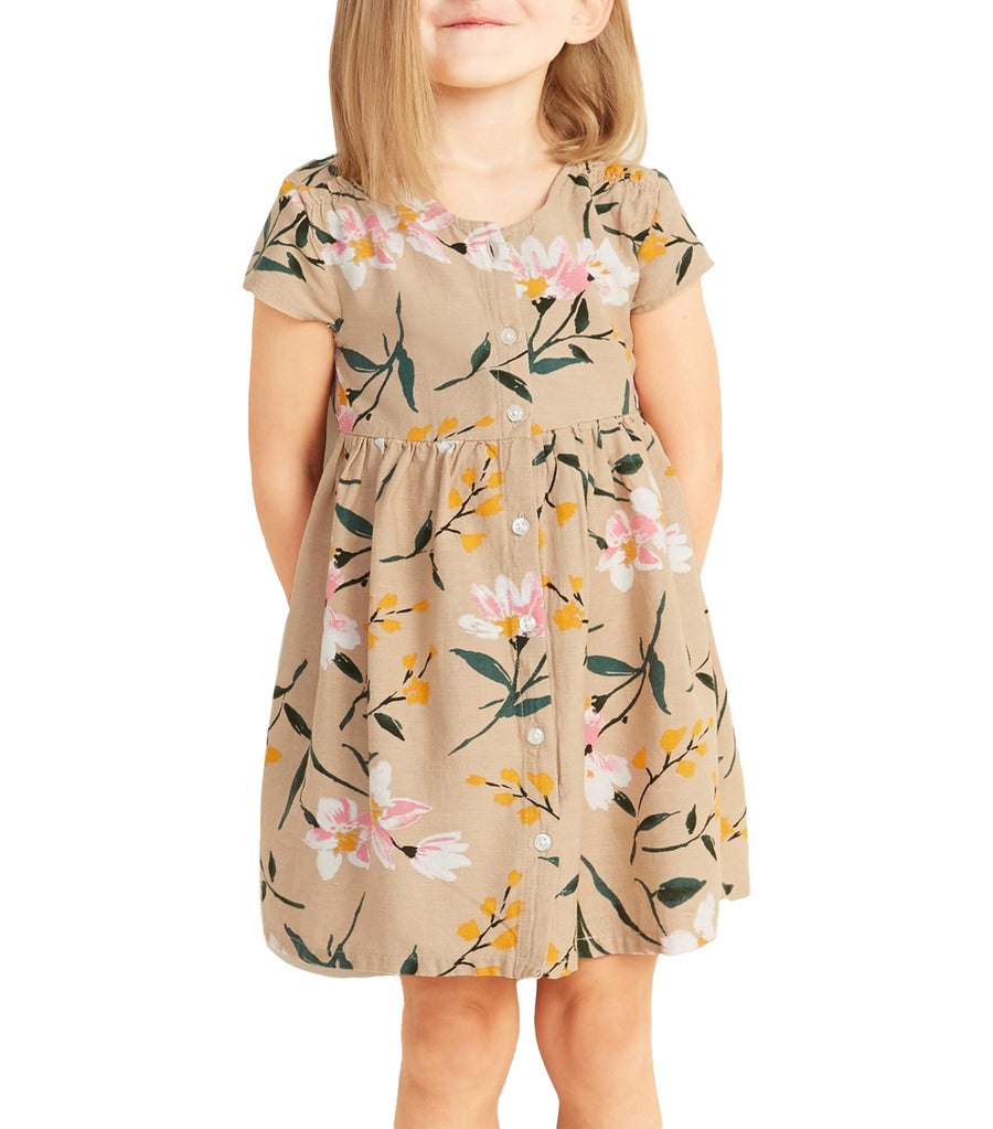 old navy toddler floral-print button-front fit and flare dress - upper crust