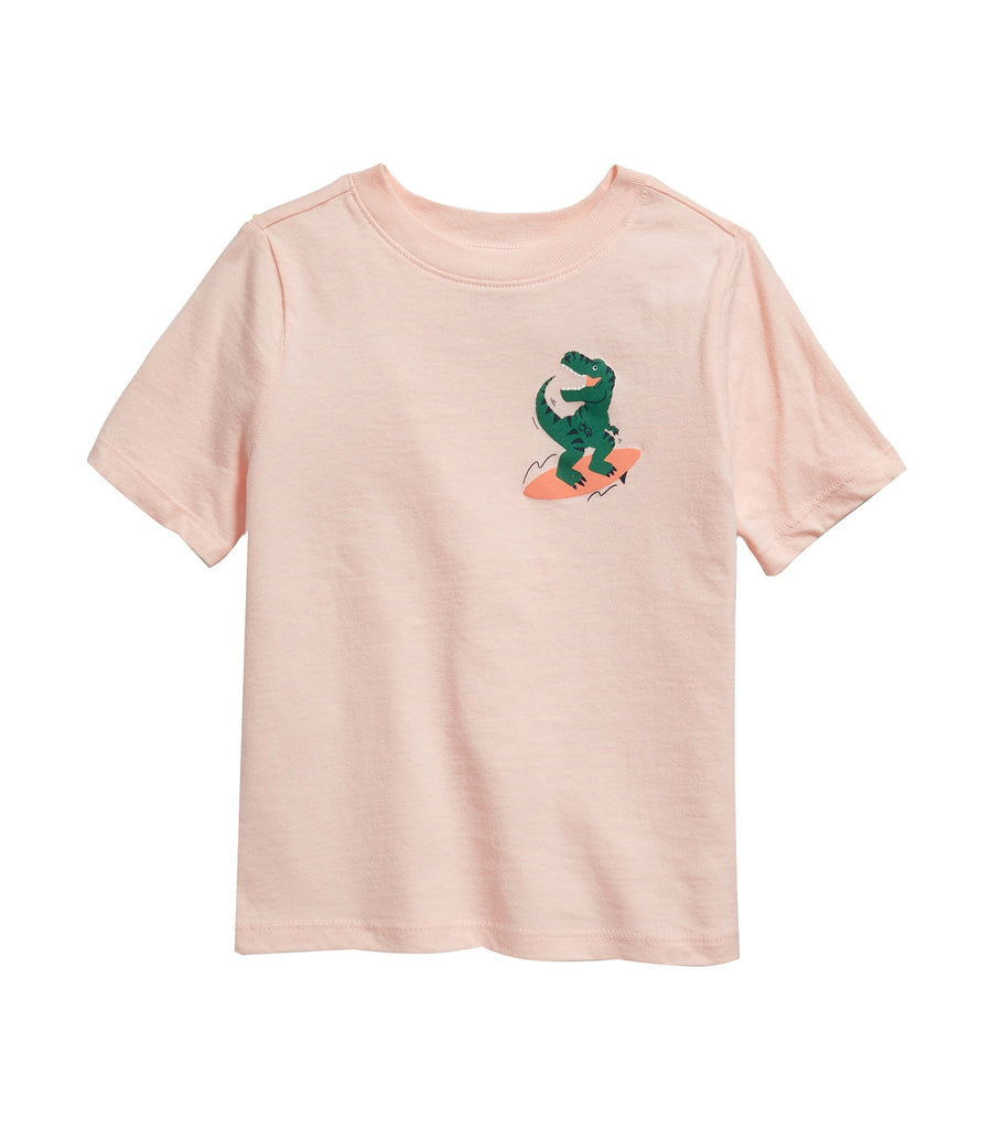 old navy toddler pale pink/t-rex graphic crew-neck tee