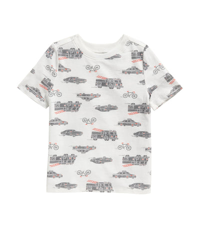 old navy toddler softest crew-neck tee - cars, bikes, and fire trucks
