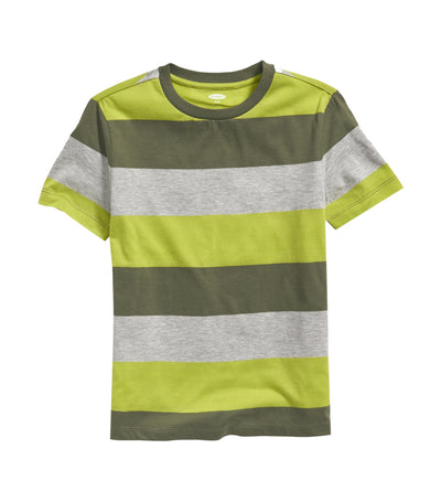old navy kids bold-stripe softest tee - olive green