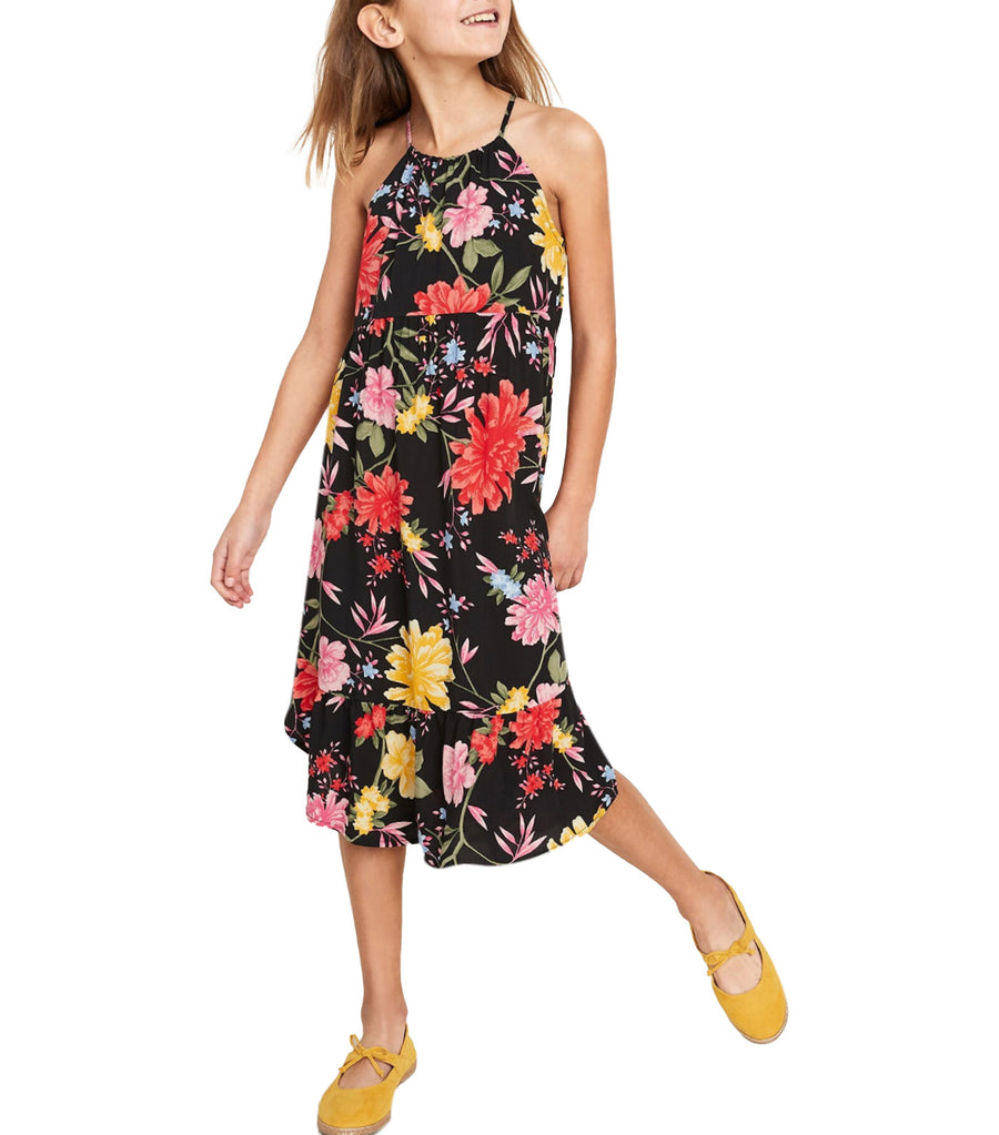 old navy kids sleeveless tulip-hem midi dress - black floral
