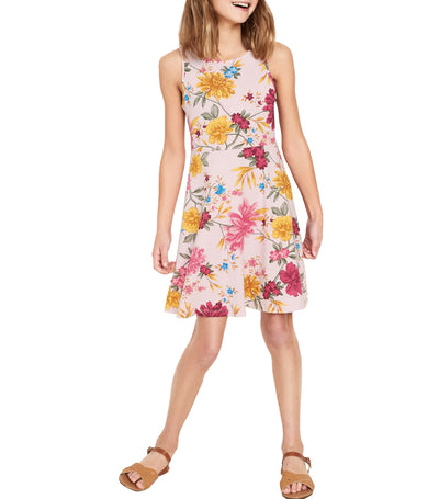 old navy kids fit and flare tank dress - pink floral
