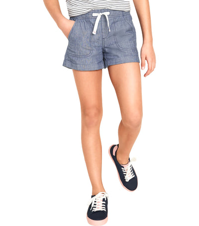 old navy kids functional-drawstring cuffed chambray shorts - mid tone chambray