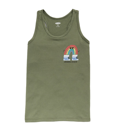 old navy kids logo-graphic racerback tank top - olive through this