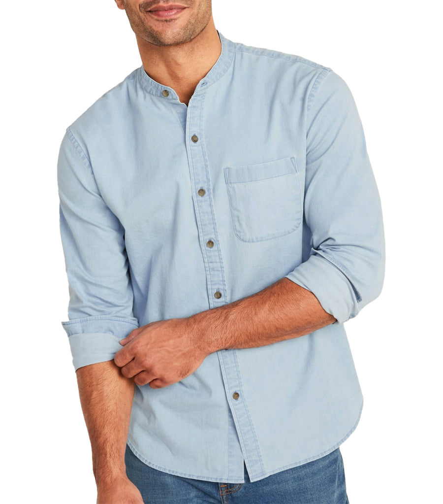 Slim-Fit Built-In Flex Chambray Banded-Collar Shirt Light Wash