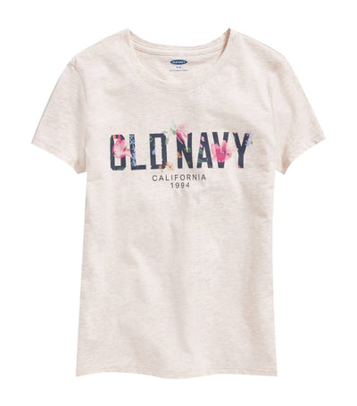 old navy kids logo-graphic crew-neck tee - oatmeal