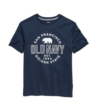 old navy kids logo-graphic crew-neck tee - lost at sea navy