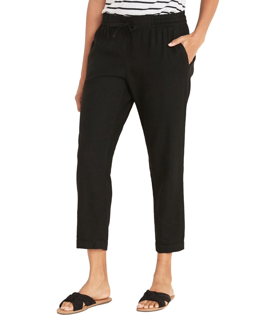 Mid-Rise Cropped Linen-Blend Pants Black Jack