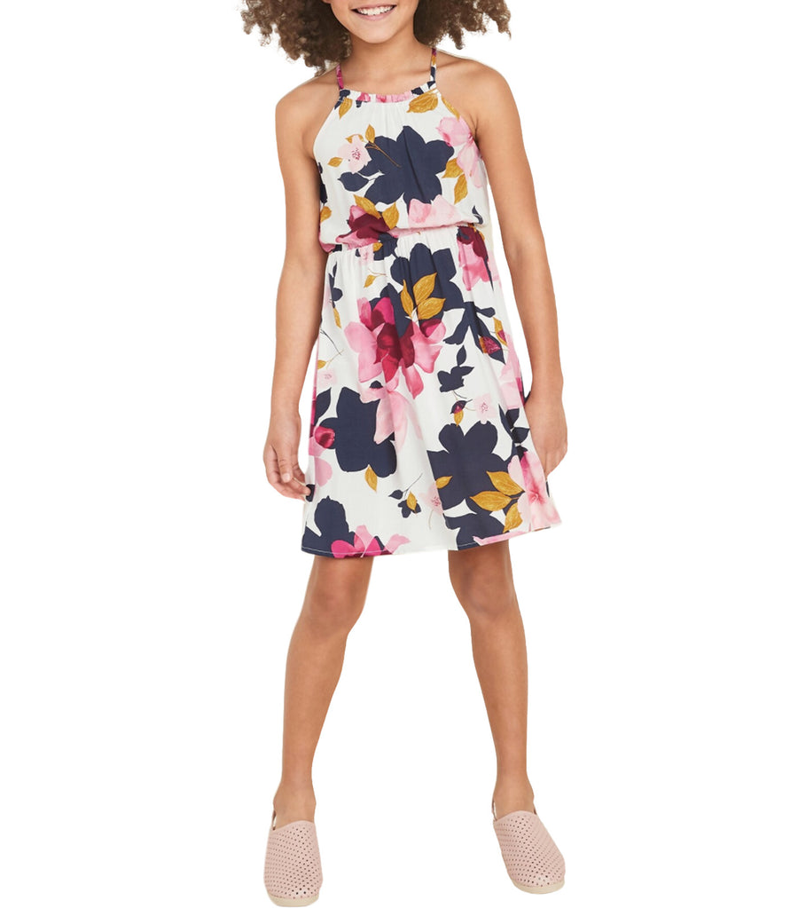 old navy kids cinched-waist cami dress - cream floral