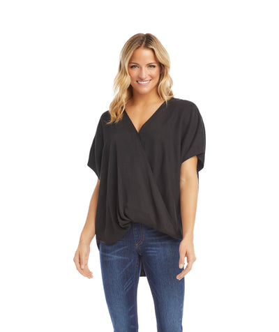 karen kane oversize crossover top - black