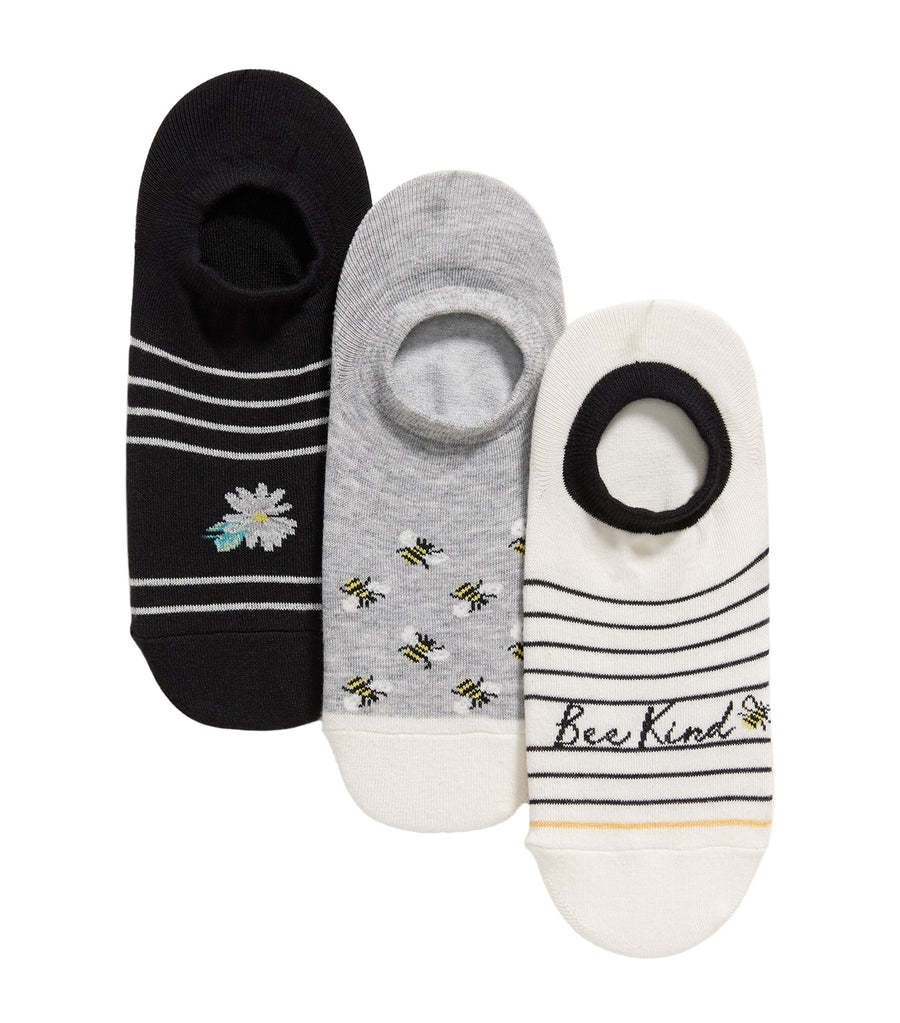 3-Pack Novelty No-Show Sneaker Socks Bee