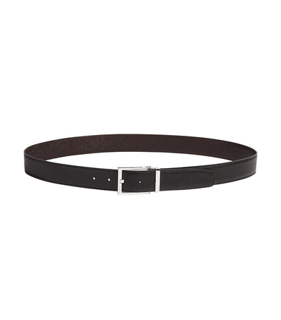 Reversible and Adjustable Belt with Rectangular Buckle Black and Dark Brown