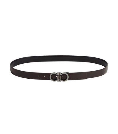 Reversible and Adjustable Gancini Belt Dark Brown and Black