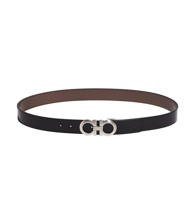 Reversible and Adjustable Gancini Belt Black and Dark Brown