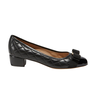 Vara Quilted Bow Pump Shoes Black