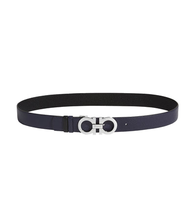 Reversible and Adjustable Gancini Belt Blueberry and Black