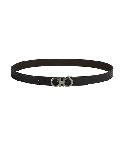 Reversible and Adjustable Gancini Belt Black and Chocolate