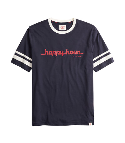 Happy Hour Graphic Ringer T-Shirt Navy