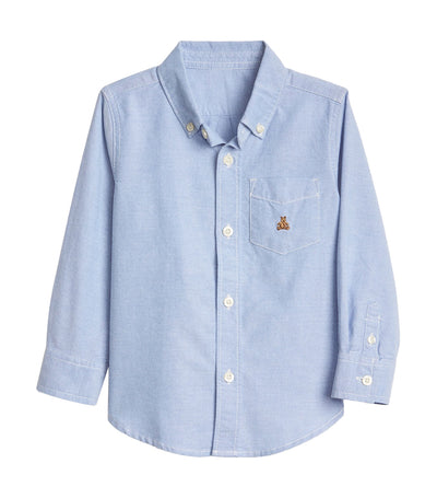 gap kids blue opal toddler long sleeve button down shirt