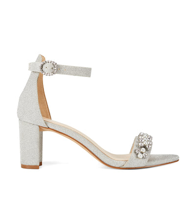 Passion3 Heeled Ankle Strap Sandals Silver
