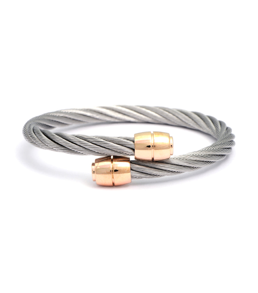 Celtic Bangle Olive Gray with Rose Gold