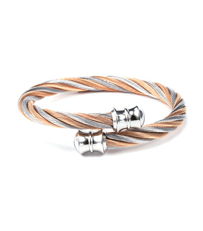 Celtic Bangle Steel and Rose Gold
