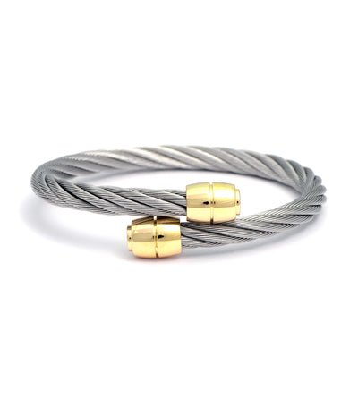 Celtic Bangle Olive Gray with Yellow Gold