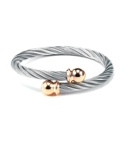 Celtic Bangle Gray with Rose Gold