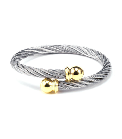 Celtic Bangle Gray with Yellow Gold