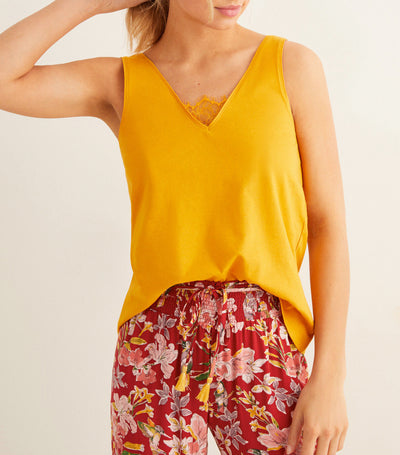Lace Detail Tank Top Yellow/Gold