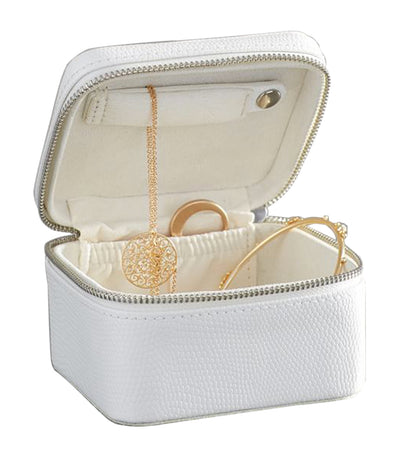 pottery barn mckenna white leather small travel jewelry case