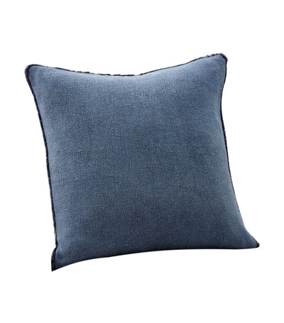 pottery barn willa stormy blue textured fringe pillow cover