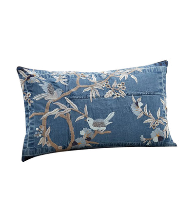pottery barn floral denim embroidered lumbar pillow cover