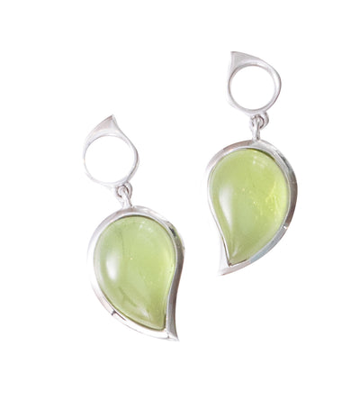 Tamara Comolli Peridot Singledrop Small Earrings Charm 18k White Gold