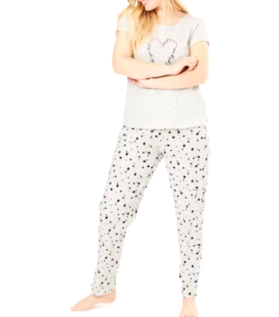 marks and spencer heart print slogan pyjama set - oatmeal mix