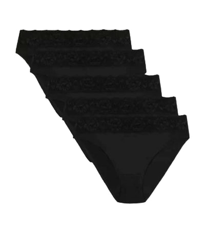 marks and spencer 5 pack lace waisted high leg knickers - black