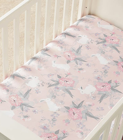 pottery barn kids lila floral organic sateen fitted crib sheet