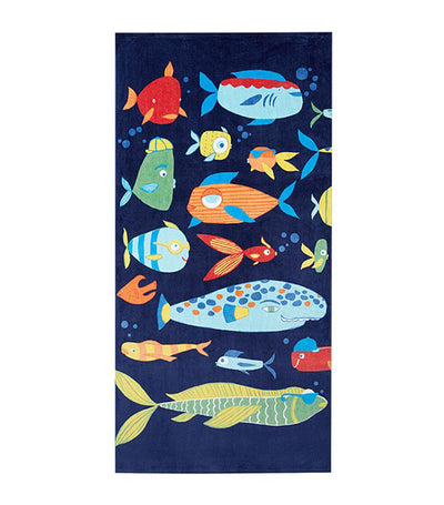 pottery barn kids funny fish beach towel