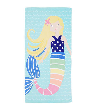 pottery barn kids rainbow mermaid kid beach towel blonde