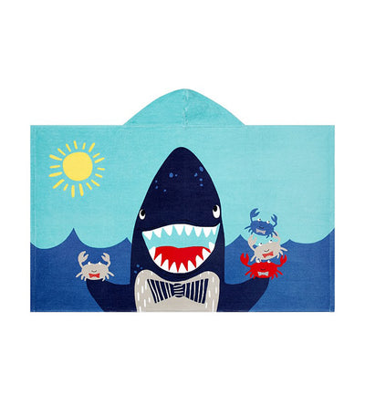 pottery barn kids shark portrait kid beach hooded towel