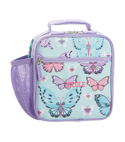 pottery barn kids mackenzie aqua lavender pretty butterflies classic lunch box