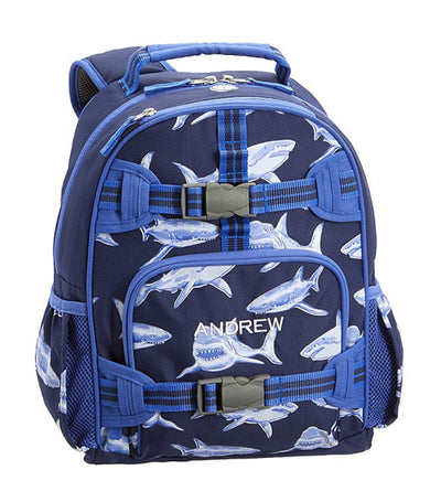 pottery barn kids blue mackenzie sharks glow-in-the-dark backpack small