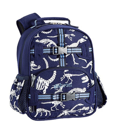 pottery barn kids mackenzie blue/gray glow-in-the-dark dinos mini backpack